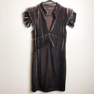 Anthropologie Theme Brown Velvet Dress